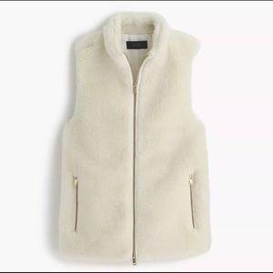 J. CREW White Furry Vest NWT